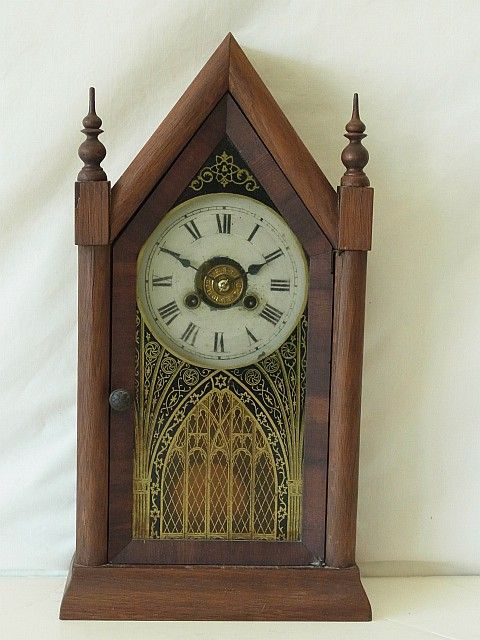 Antique Jerome Amp Co Sharp Gothic Steeple Mantel Clock Size