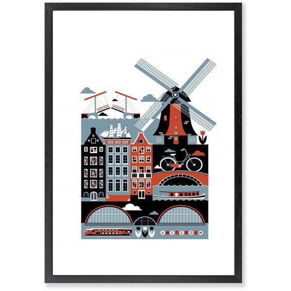 Monde Mosaic - Amsterdam Art Print ($64) ❤ liked on Polyvore featuring home, home decor, wall art, new york skyline wall art, unframed wall art and paper wall art