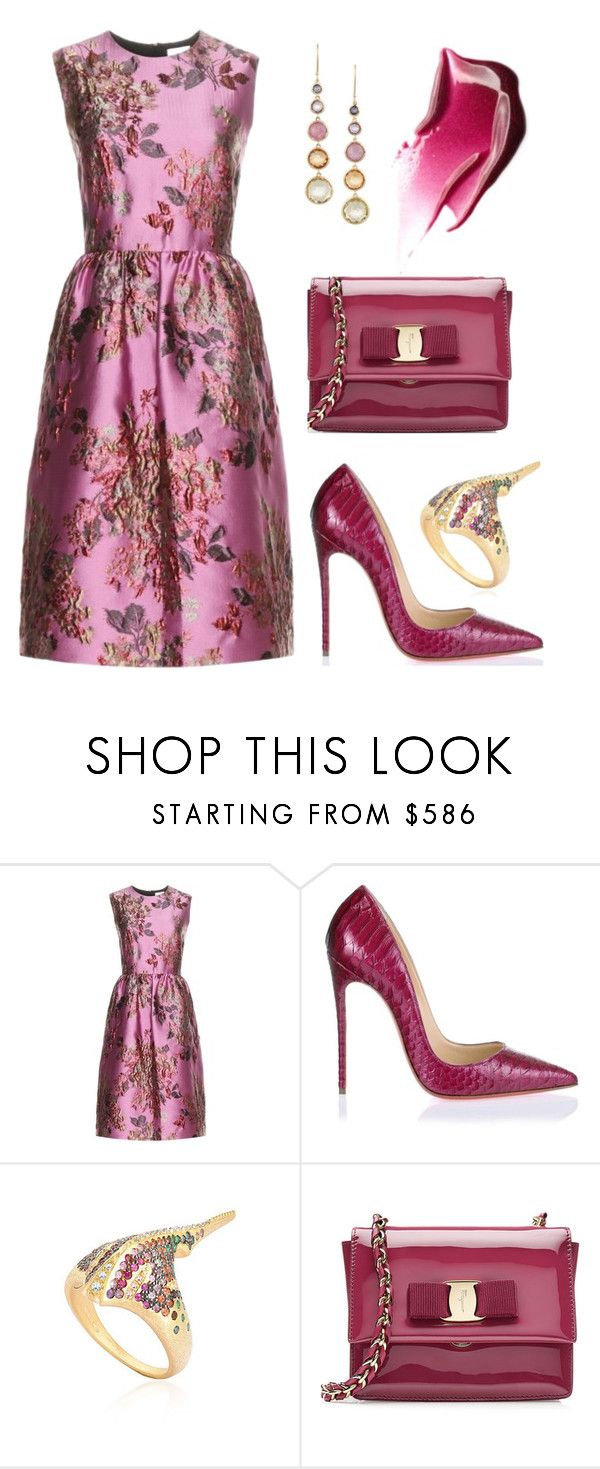 """""""Holiday Party"""" by dominosfalldown ❤ liked on Polyvore featuring Erdem, Christian Louboutin, Venyx, Salvatore Ferragamo, Ippolita, Pink, polyvoreeditorial, HolidayParty and holiday2015"""