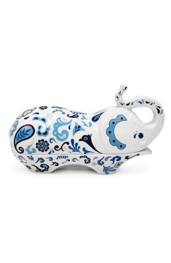 """Jonathan Adler 'Elephant' Porcelain Butter Dish  Glazed porcelain sculpts a cleverly designed butter dish in the shape of a whimsical, paisley-patterned elephant.  Approx. dimensions: 3""""W x 8 1/2""""L x 5""""H.  Glazed porcelain.  By Jonathan Adler; imported."""