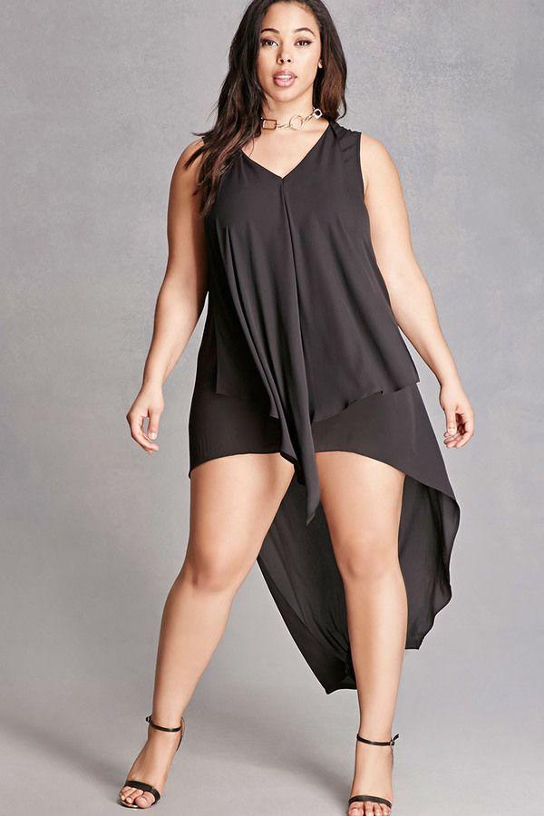 Plus Size Draped High-Low Dress