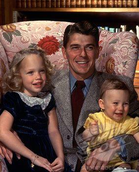 Ronald Reagan with daughter Maureen, son Michael