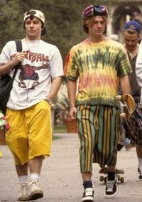 BG - graphic/tie dye t-shirts, sneakers with socks showing, long shorts, skateboard, backwards hat
