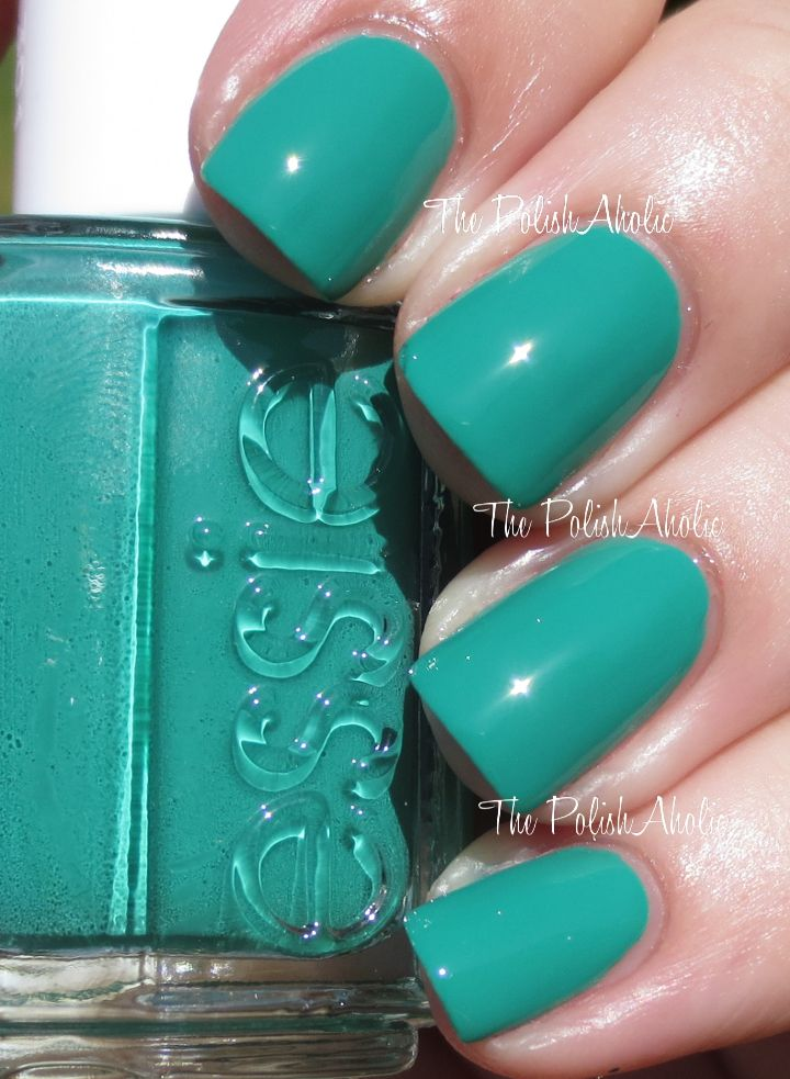 Essie Summer 2014 Collection Swatches - Ruffles  Feathers is a teal green creme.  The formula was good, it was nice and opaque and easy to apply. I used 2 coats for the photos below. I did not have staining with this but I would recommend using 2 coats of base coat just in case.