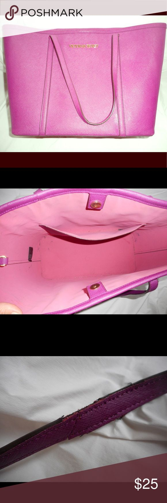 Victoria's Secret purple shoulder bag Used a few times. Very sturdy. One small flaw on one strap (see pic) Victoria's Secret Bags Shoulder Bags