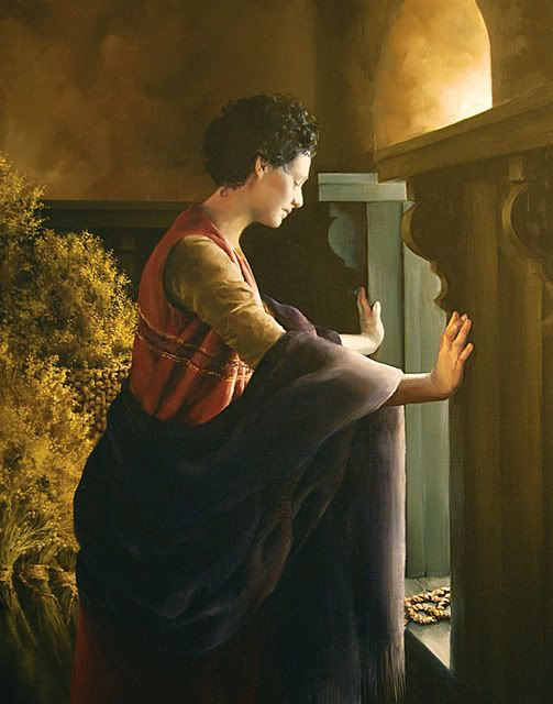 """Waiting for the Promise, by Elspeth Young.Rahab in Hebrew means """"spacious."""" She was a harlot in Jericho. She hid the Hebrew spies in her home and """"let them down by a cord through the window: for her house was upon the town wall."""" They in turn promised to save her and all of her family from the destruction of Jericho (see Joshua 2:12–21). In the painting, Rahab awaits the fulfillment of that promise as Jericho is destroyed. Rahab's faith is discussed by Paul (see Hebrews 11:31), and her good…"""