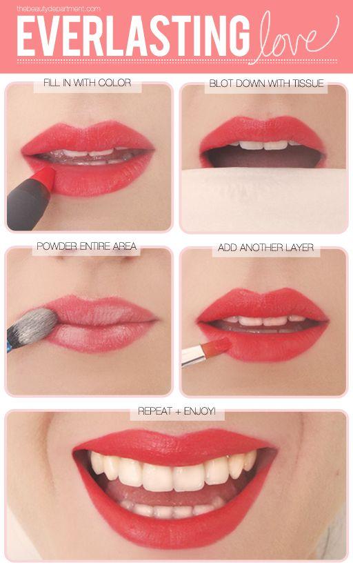 secret tip for everlasting lipstick. Must remember.
