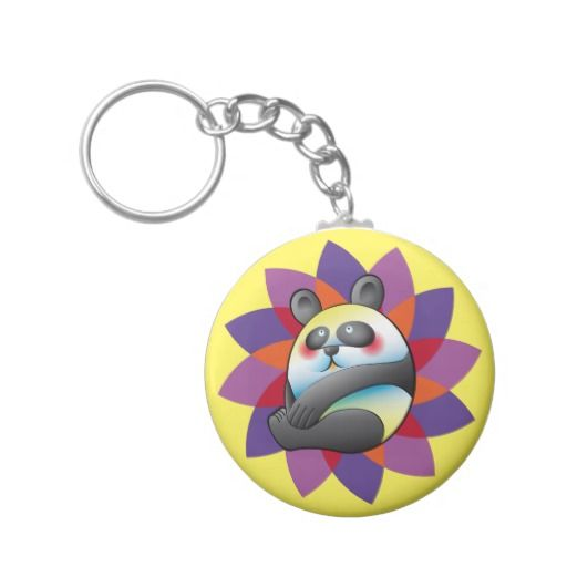 Lindo oso panda sobre flor multicolor. Bear. Producto disponible en tienda Zazzle. Product available in Zazzle store. Regalos, Gifts. Link to product: http://www.zazzle.com/lindo_oso_panda_sobre_flor_multicolor_basic_round_button_keychain-146715930609517968?CMPN=shareicon&lang=en&social=true&rf=238167879144476949 #llavero #KeyChain
