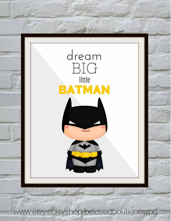 Dream Big Little Batman, Modern Nursery Art Print Digital Download, Superhero Wall Art, Boys Room Decor, Superhero Art, Batman Print