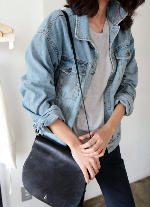 Light Wash JeanJacket with Rouged/Rolled-up Sleeves, Light Grey Sweater, Navy Slacks, Black Leather Messenger Bag, etc.