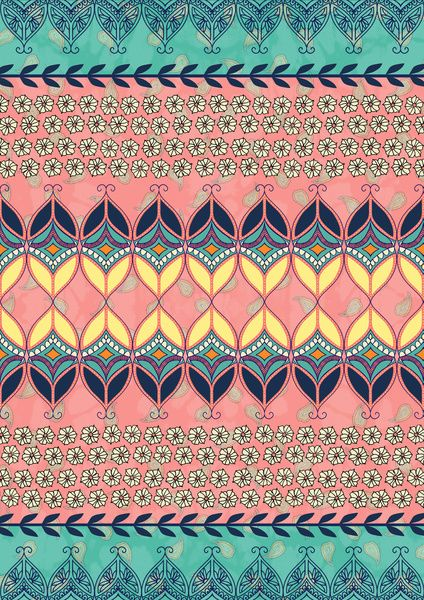 Boho Daisy Pattern Print | Bohemian Wallpaper | Tribal Stripes | Background Design