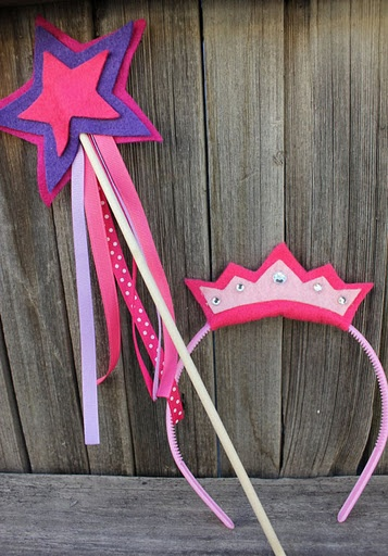 Craft for princess party - cheap plastic headbands from dollar store, wooden sticks (chopsticks?) and craft foam or felt. Princess crown/tiara and wand.