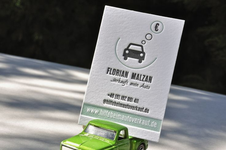 German mechanician business card on the top of lime green Matchbox pick up. Printed by Letter&Press unique printing house.