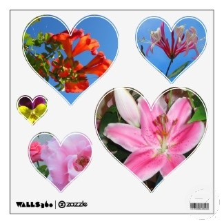 Hearts Filled with Flowers Wall Decals