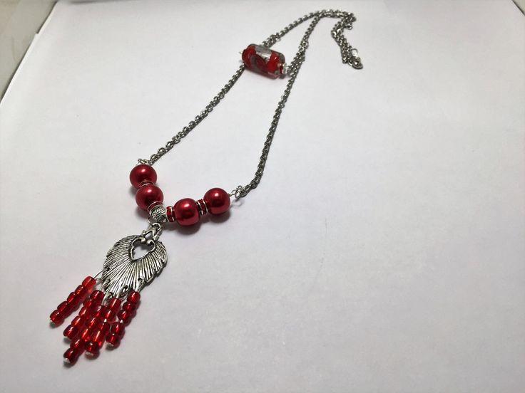 Collier fantaisie, double rang , argenté ,rouge   réf 847 de la boutique perlesacoco sur Etsy
