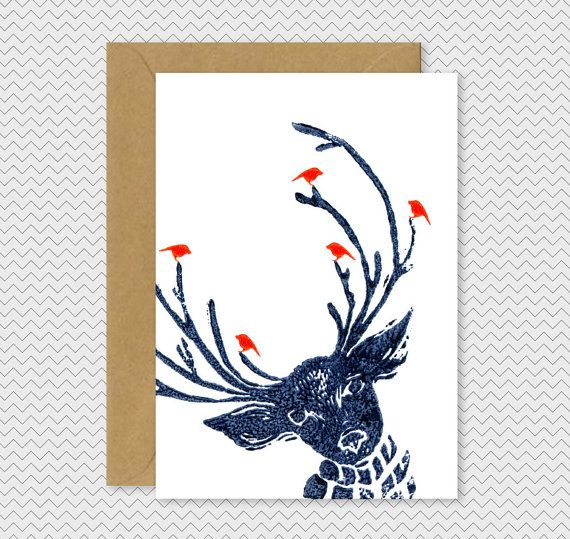 ThoseLondonChicks.Com Love Cool Christmas Cards Reindeer with birds Dark by IvoryMintCards