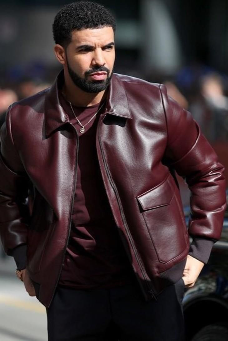 Drake Is Looking Cool In His Burgundy Leather Jacket From Prada Maroon Leather Jacket Leather Jacket Leather Jacket Men [ 1093 x 730 Pixel ]