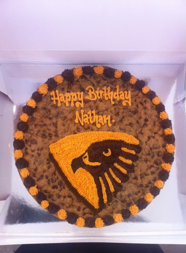 AFL Hawks fans - this is for you!  YOur own cookie cake thanks to Mrs. Fields Northland
