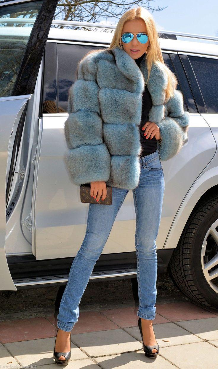 Pastel Blue Royal Saga FOX FUR Jacket Coat Clas OF Silver Sable Mink Poncho Vest | eBay