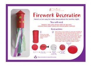 Using simply a toilet roll and coloured tissue paper, your child can make a fun fireworks craft decoration or mobile for bonfire night!
