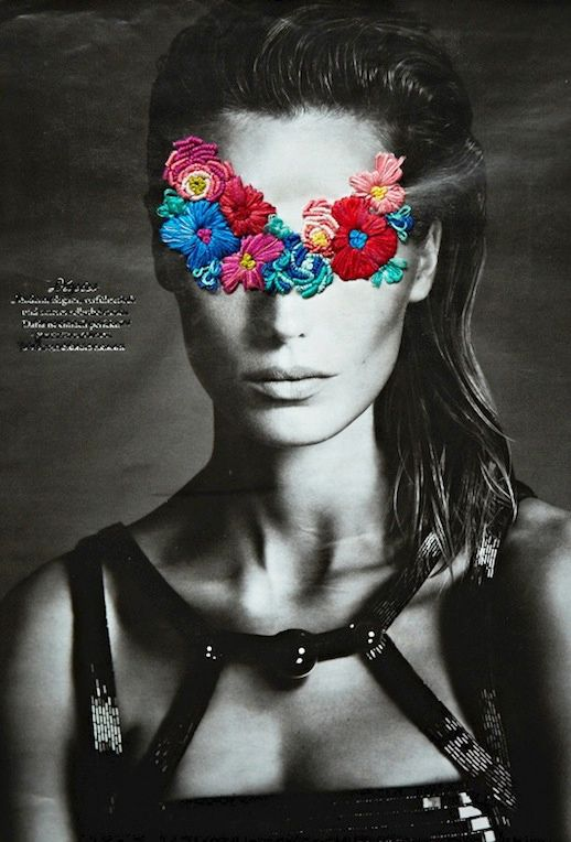 LE FASHION BLOG ARTIST JOSE ROMUSSI EMBROIDERED EDITORIALS DARIA WERBOWY FASHION ART FLORAL EMBROIDERY BLACK AND WHITE PHOTOS CUT OUT BEADED...