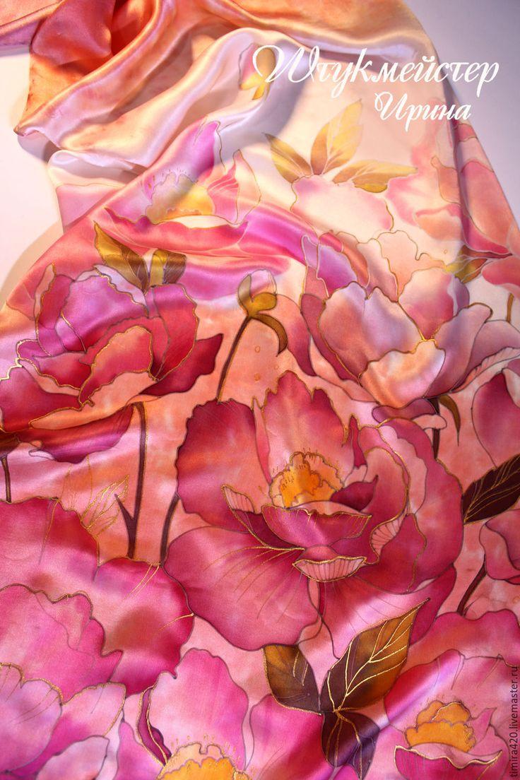 """Купить Шарф """"Розовые пионы"""" - цветочный, пионы, шелковый шарф батик, розовые пионы, комбинированный"""