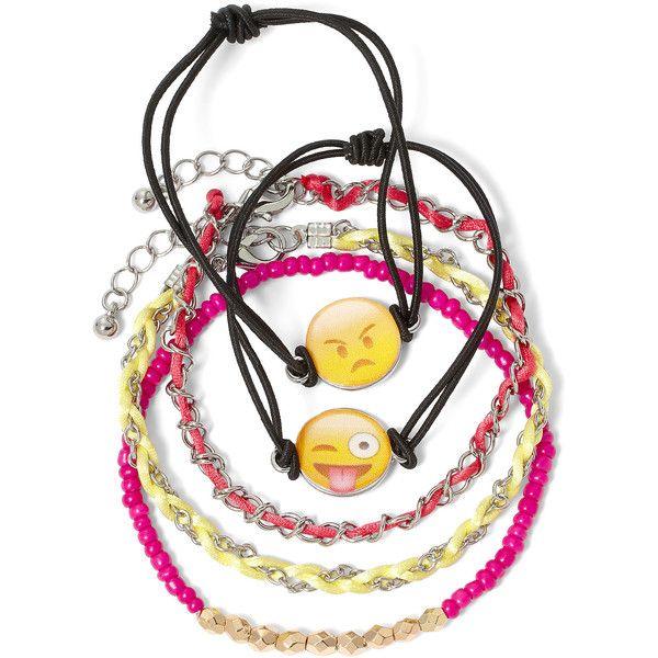Carole 5-pc. Emoji Bead Cord Charm Bracelet Set ($15) ❤ liked on Polyvore featuring jewelry, bracelets, bracelet bead charms, beading jewelry, colorful bangles, colorful jewelry and beading charms