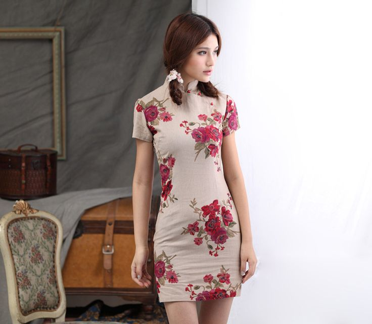 Free shipping Blend Cotton Linen cheongsam dress Womens traditional Cheongsam Dress Line Oriental national trend dress VZ899