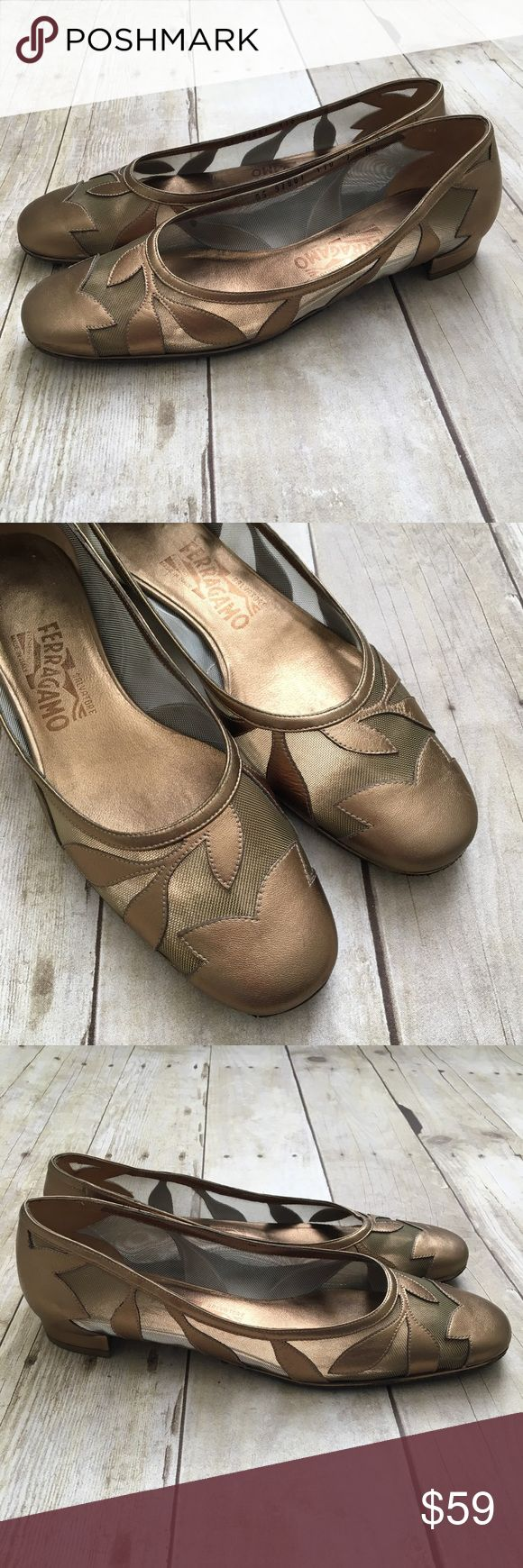 """Salvatore Ferragamo Metallic Gold Dress Flats In excellent condition with little sign of wear. NOTE: The upper half of the bottom soles have been replaced. It is a sturdy, well-made """"Topy"""" brand rubber replacement. Please see last photo for glimpse of how it is attached to bottom. It does not affect the way it feels while being worn. Size 7 medium. Also see brown glue spot on toe. Not noticeable while wearing. Salvatore Ferragamo Shoes Flats & Loafers"""