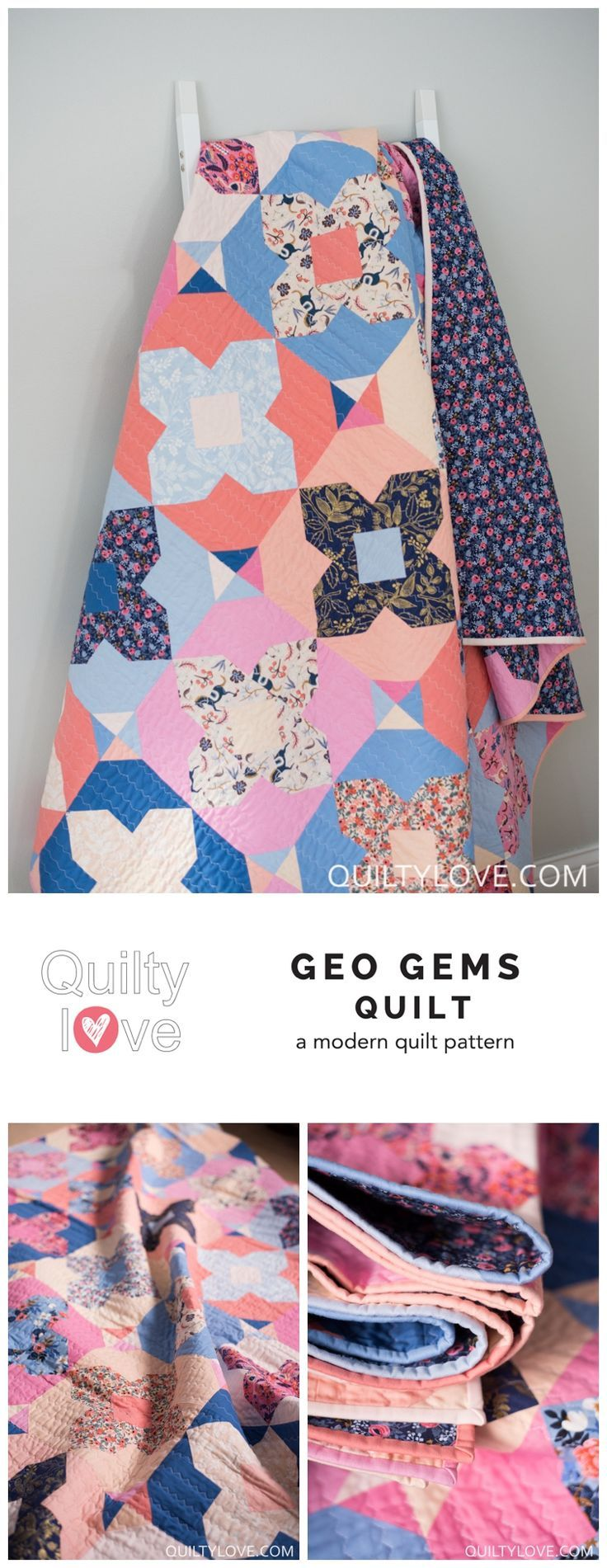 Geo Gems quilt pattern by Emily of Quiltylove.com.  Modern solids quilt pattern using Rifle paper co fabric by Cotton and Steel.  Fat quarter friendly quilt pattern.