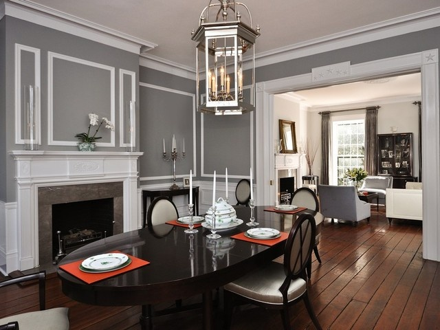Neutral Grey Formal Dining Room Red Placemats Living