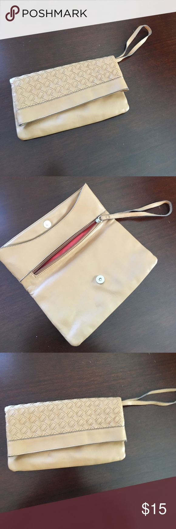 Camel clutch Camel colored leather clutch from the limited. like new condition. The Limited Bags Clutches & Wristlets