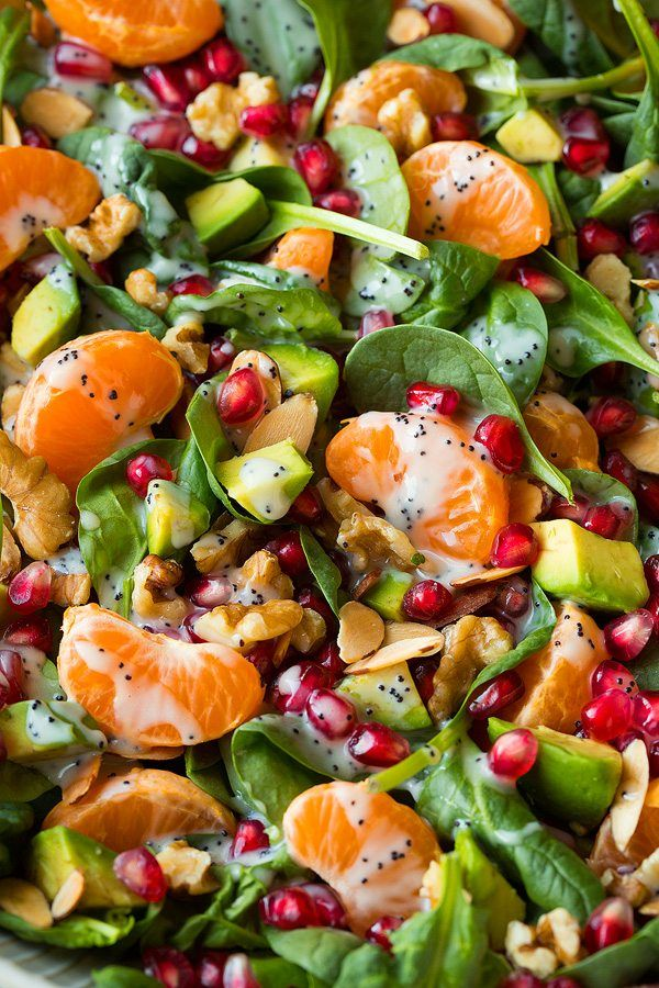 Mandarin Pomegranate Spinach Salad with Poppy Seed Dressing   Cooking Classy