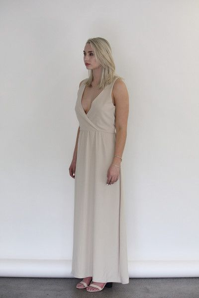 Céline Rita NZ Designer Champagne Maxi Crossover Bridesmaid