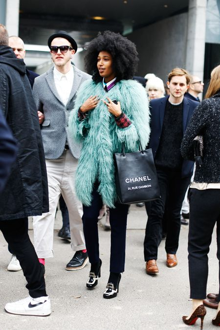 Julia Sarr-Jamois in Philosophy di Alberta Ferretti Shearling Coat...she totally rocks that coat: