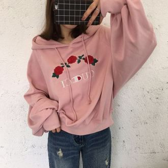 sweater pink girly cute fashion style trendy hoodie casual roses flowers gucci champion long sleeves beautifulhalo jacket tumblr embroidered champion hoodie rose champions baby pink gucci x champion pink hoodiee gucci sweatshirt flowered