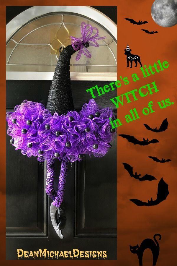 Halloween Welcome wreath Halloween decor Halloween door wreath Halloween door decor Halloween witch Decor Witch door decor witch moon