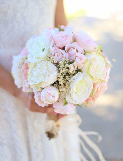 Seta sposa Bouquet bianco crema pallido rosa rose peonie