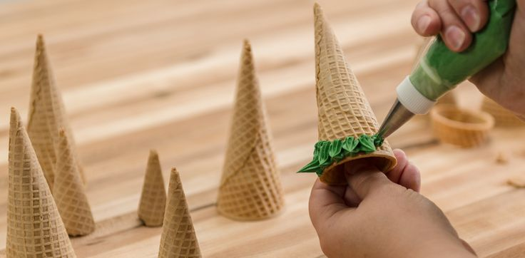 How-To Make a Three-Tier Frozen Birthday Cake Ice Cream Cone Trees