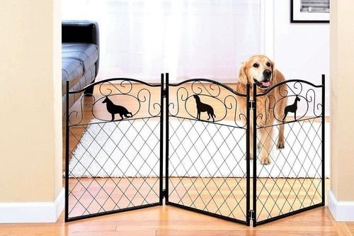 52 Inch Freestanding Pet Gate w/ Silhouette Metal Dog Gates Indoor Dog Fence