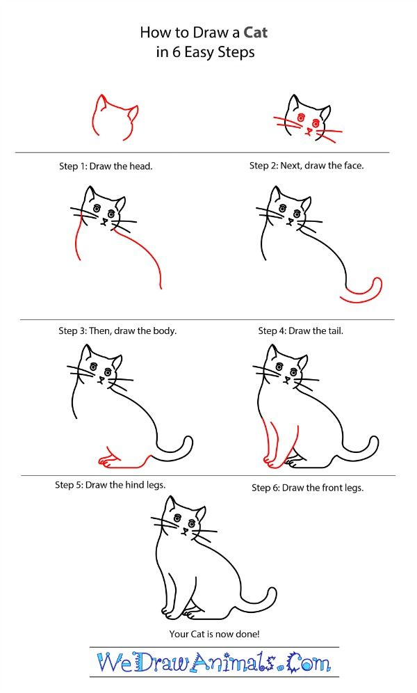 Learn to draw a cat with this simple drawing tutorial from WeDrawAnimals.com. Download their free ebook with 100 animal drawing tutorials!