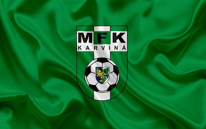 Download wallpapers FC Karvina, Football club, Karvina, Czech Republic, Karvina emblem, logo, green silk flag, Czech football championship
