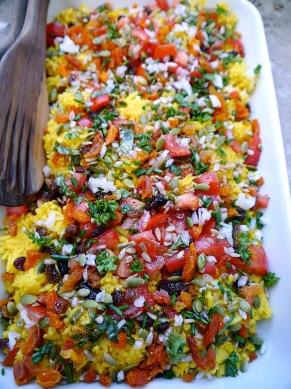 Brilliant Rice Salad (The Hungry Australian) I think I would exchange the rice for Quinoa though.  Could add Chicken if you wanted to also.