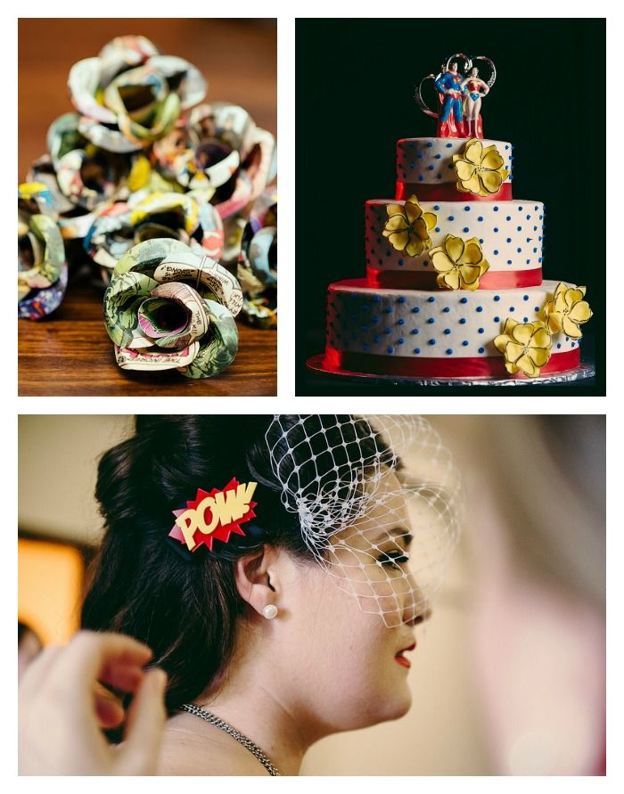 Comic book wedding with superhero cake, paper roses, and POW fascinator.