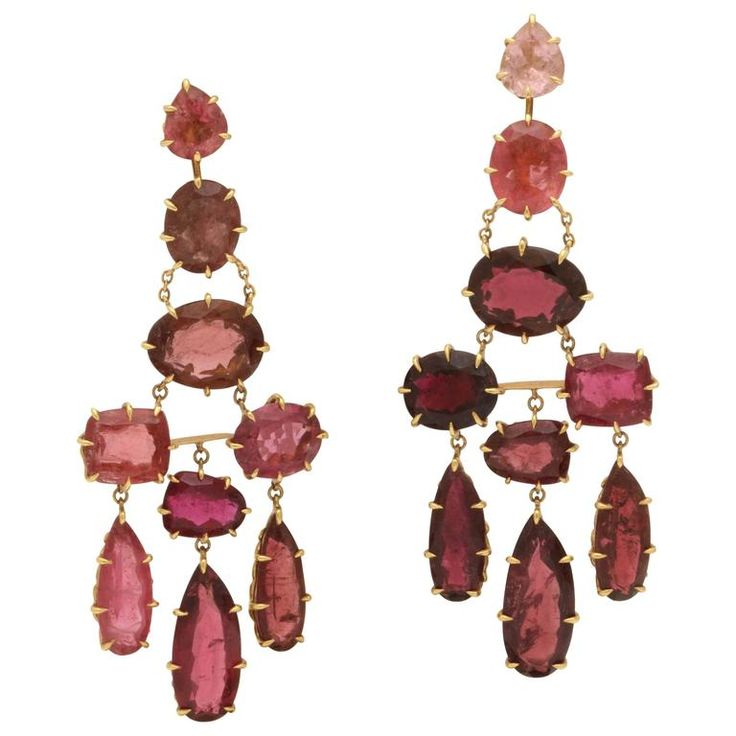 H. Stern Garnet Pink Tourmalines Gold Flexible Chandelier Earrings | From a unique collection of vintage chandelier earrings at https://www.1stdibs.com/jewelry/earrings/chandelier-earrings/