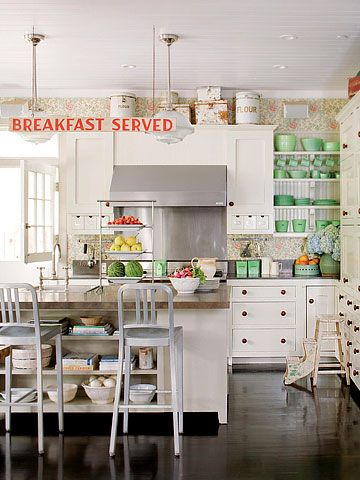 Love this country kitchen... White kitchen with pops of color.