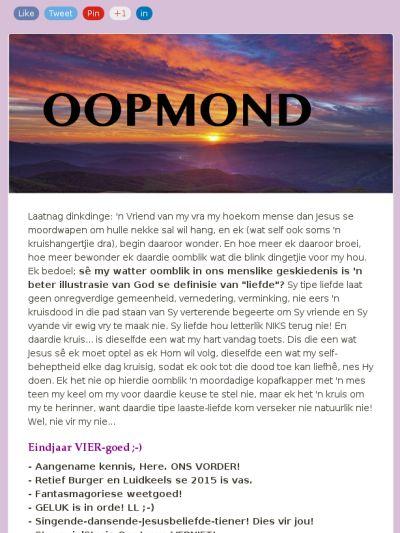 OOPMOND: Weetgoed van epidermiese proporsies!