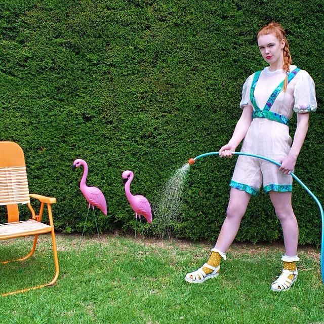 "@rhi_morgs for @marissaaldenphoto ""in a Barbie world editorial"" @typo @windsorsmith #wndlnd #barbieworld #marissaaldenphoto #editorial #garden #flamingo #photography #fashion #jumpsuit #model"