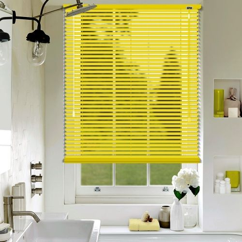 A matt Yellow aluminium venetian blind, custom made in a 25mm slat width