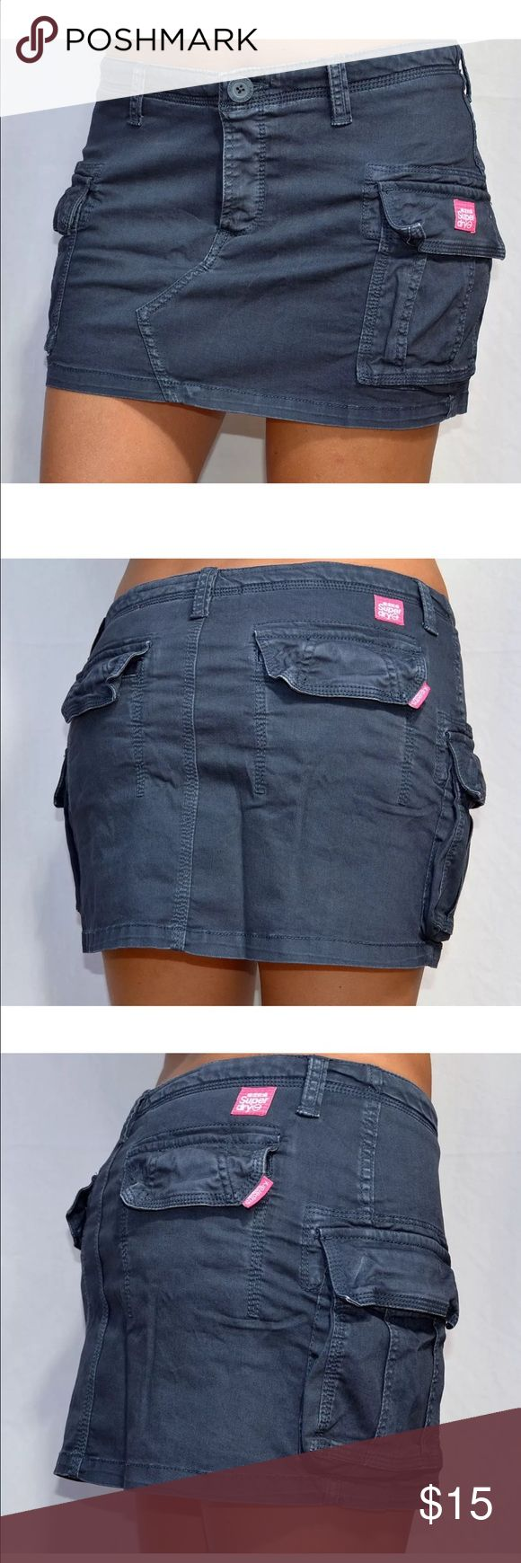 Superdry Blue Mini Skirt size S / color: blue / never worn / so cute, retro vintage core cargo mini skirt with multi pocket design. Superdry Skirts Mini